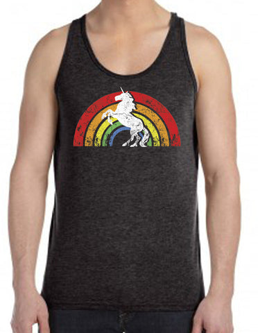 SALE - Mens Rainbow Unicorn Charcoal Tri Blend Tank Top