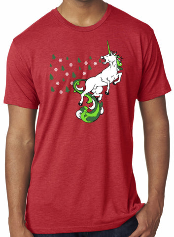 Mens Christmas Unicorn Red Holiday Tri Blend Tshirt