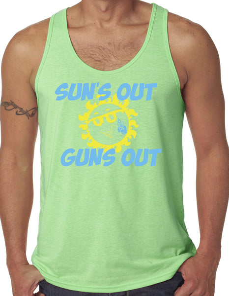 Mens Lime Green Suns Out Guns Out Tank