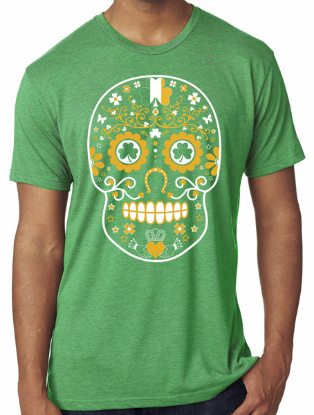 Mens St Patricks Day Sugar Skull Green Tri blend Tshirt