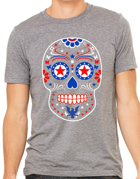 Mens USA Sugar Skull Grey Triblend Tshirt