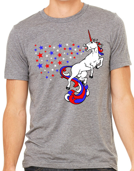 Mens USA Unicorn Grey Triblend Tshirt