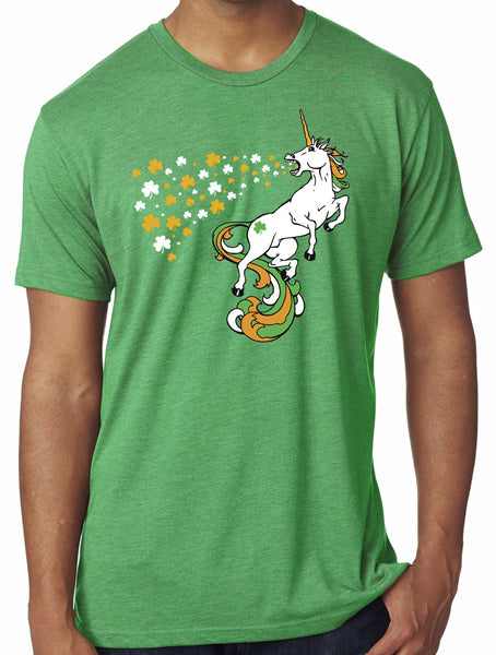 Mens Irish Unicorn Triblend Tshirt Green