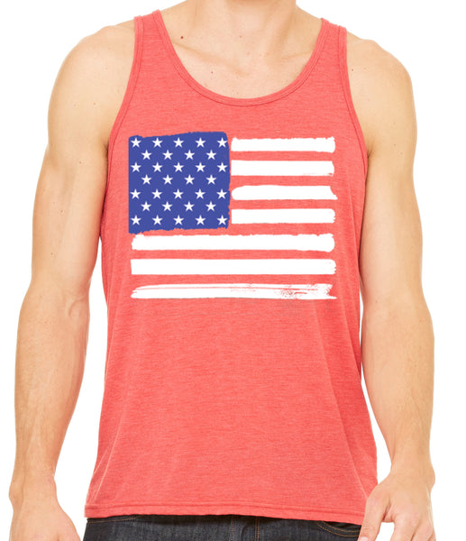 Mens USA American Flag Tri Blend Tank Top