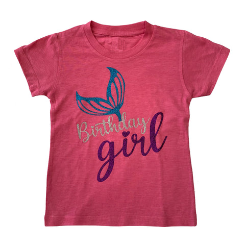 Girl's Mermaid Birthday Girl Glitter Pink Party T-Shirt
