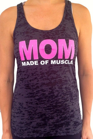 Made Of Muscle Black Burnout Tank