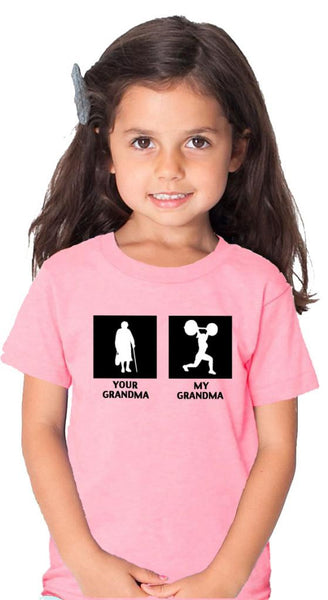 My Grandma Your Grandma Children's Pink Tshirt