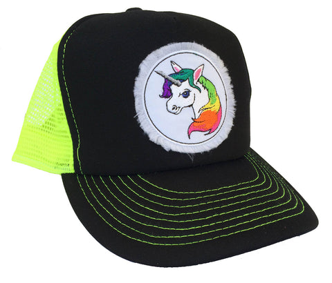 Unisex Unicorn Trucker Hat Neon Yellow
