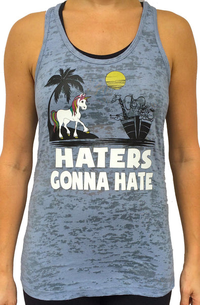 Unicorn Hater Grey Burnout Tank Top