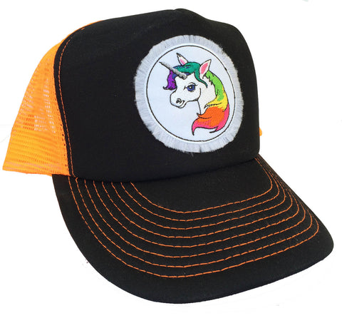 Unisex Unicorn Trucker Hat Neon Orange