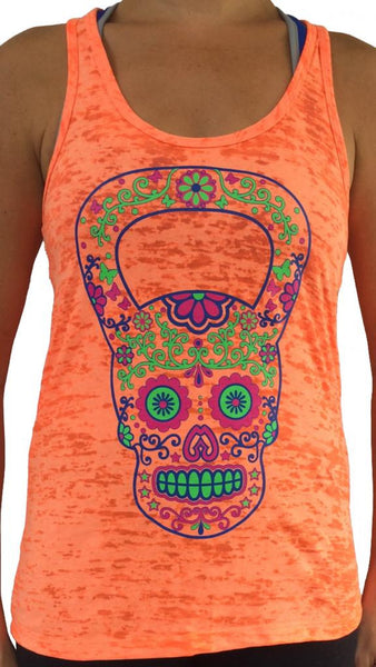 Kettlebell Skull Orange Burnout Tank