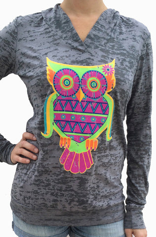 Colorful Owl Grey Burnout Hoody