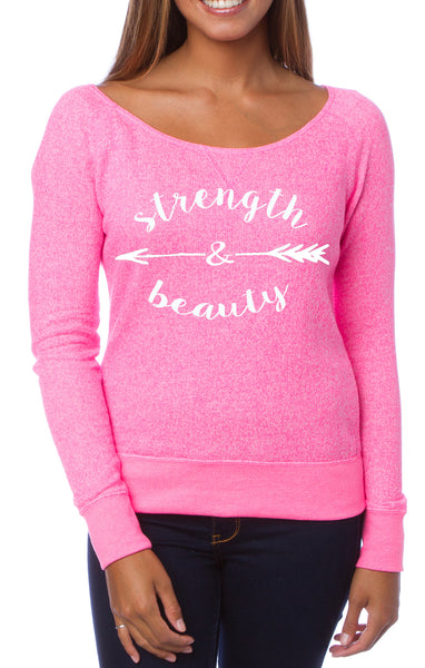Strength & Beauty Terry Off The Shoulder Sweatshirt