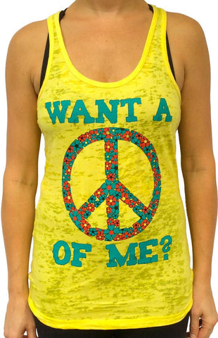 Peace Of Me Yellow Burnout Tank