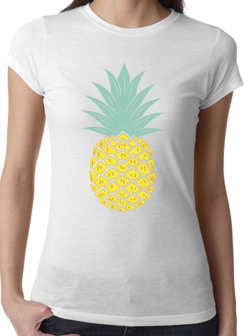 Women's Pineapple Tshirt White Crew Neck