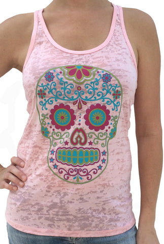 Sugar Skull Pale Pink Burnout Tank