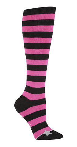 Pink & Black Striped Knee Socks