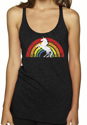 Rainbow Unicorn Charcoal Tri Blend Tank Top