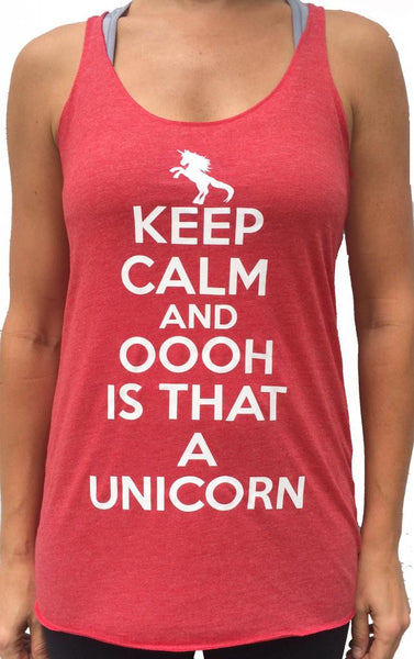 Keep Calm And Unicorn Red Tri Blend Tank
