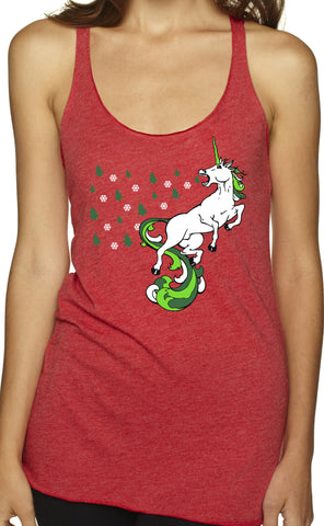 Christmas Unicorn Holiday Red Tri Blend Tank Top