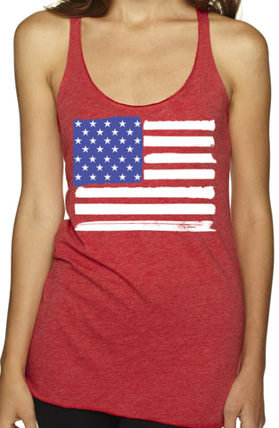 USA American Flag Tri Blend Red Tank