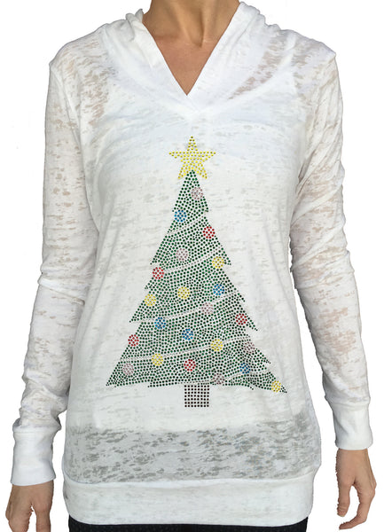 Rhinestone Christmas Tree White Burnout Hoody