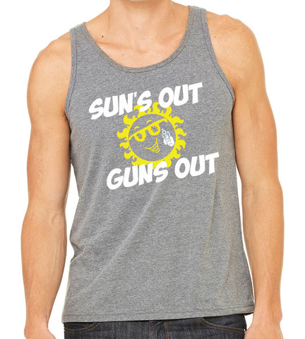 SALE - Mens Suns Out Guns Out Grey Tri Blend Tank