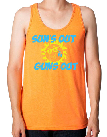 SALE - Mens Suns Out Guns Out Neon Orange Poly/Cotton Tank