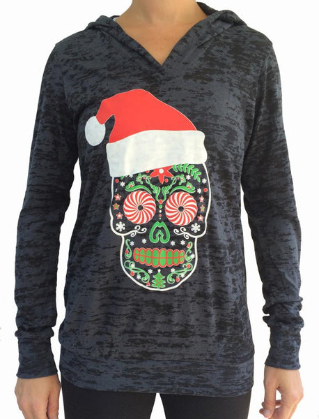 Santa Skull Black Burnout Hoody