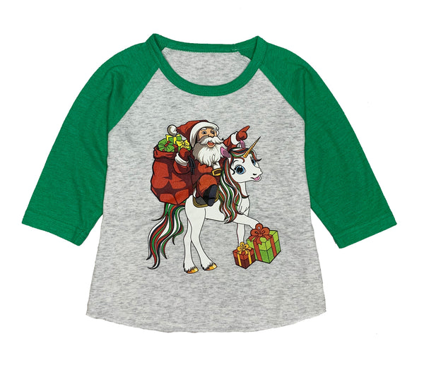 Toddler & Baby Santa Unicorn 3/4 Sleeve Raglan T-Shirt