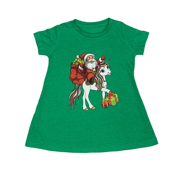 Toddler & Baby Santa Unicorn Green T-Shirt Dress