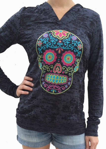 Sugar Skull Black Burnout Hoody