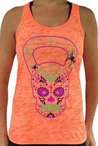 Scary Kettlebell Skull Orange Burnout Tank