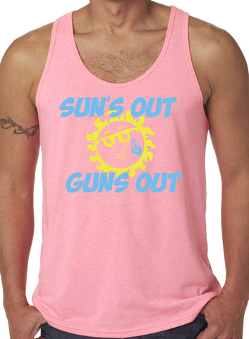 Mens Suns Out Guns Out Poly/Cotton Blend Tank