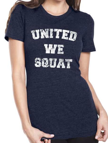 United We Squat Navy Tri Blend Crew Neck