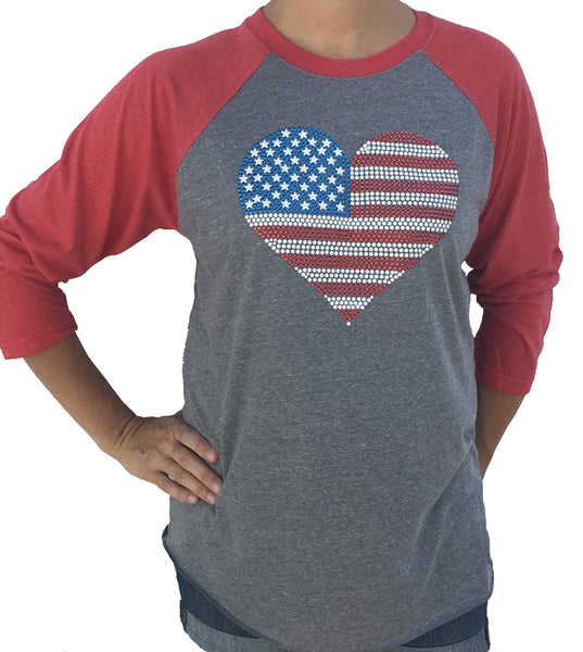 USA Studded Flag Heart 3/4 Sleeve Red Tri Blend Raglan