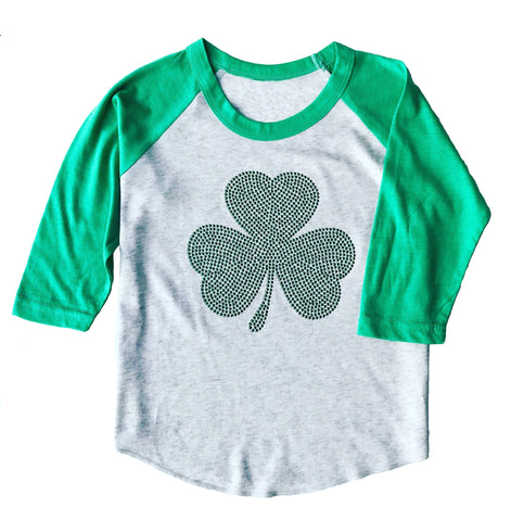 Youth St. Patrick's Day 3/4 Sleeve Studded Shamrock Heather White & Green