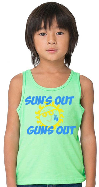 Youth Sun's Out Guns Out Lime Green Tank