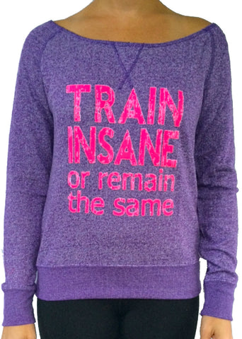 Train Insane Purple Terry Off The Shoulder Long Sleeve