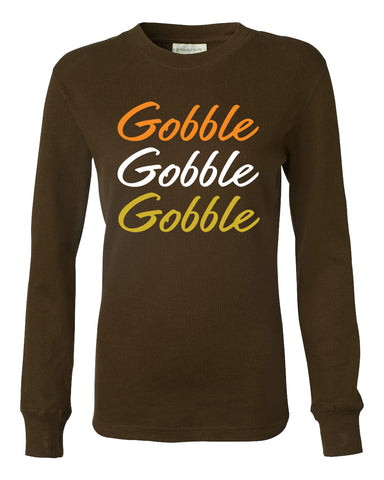 Women's Thanksgiving Gobble Turkey Trot Long Sleeve Thermal