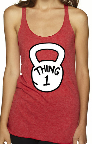 Thing 1-4 Red Tri Blend Tank Top