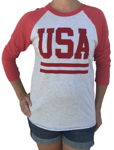USA with Stripes 3/4 Sleeve Red with White Tri Blend Raglan