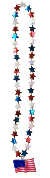 USA Flag 4th of July Beaded Necklace
