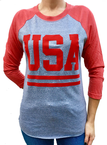 USA with Stripes 3/4 Sleeve Red with Grey Tri Blend Raglan