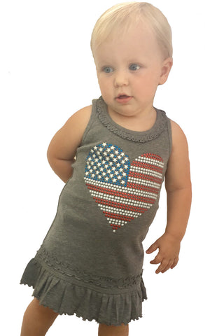 USA Flag Studded Heart Girls Heather Grey Dress