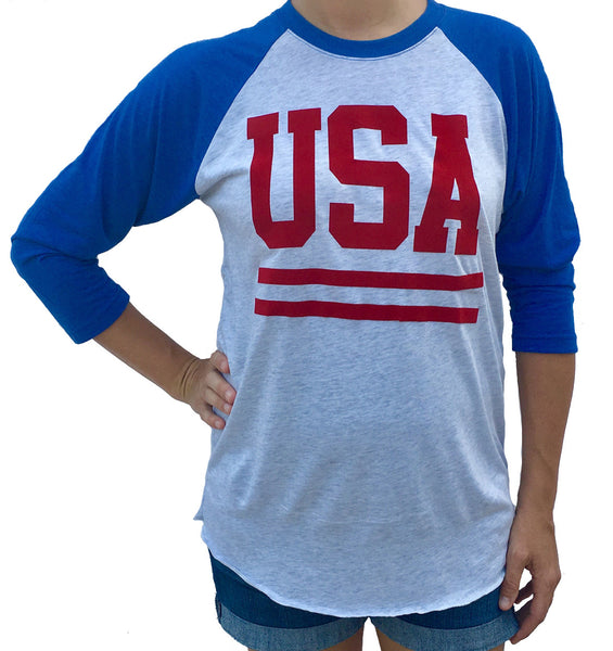 USA with Stripes 3/4 Sleeve White with Blue Sleeves