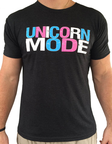 Mens Unicorn Mode Charcoal Triblend Tshirt