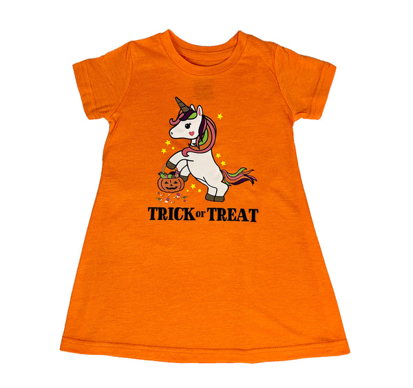 Halloween Unicorn Trick or Treat Orange Toddler & Baby T-Shirt Dress