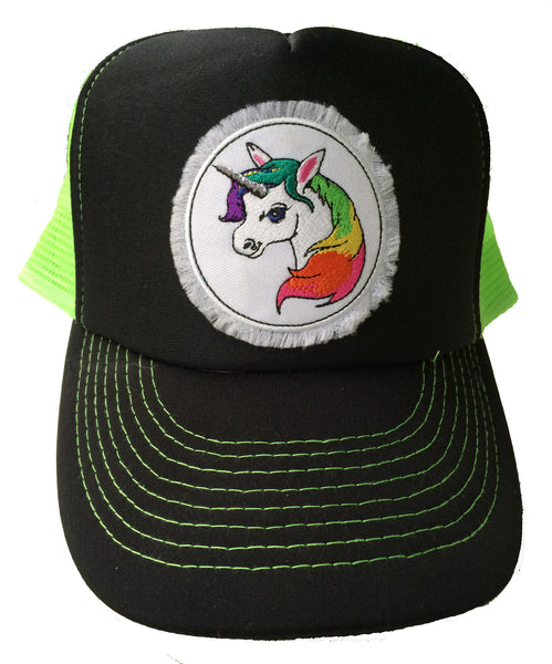 Unisex Unicorn Trucker Hat Neon Green
