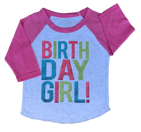 Pink & White Birthday Girl 3/4 Sleeve Raglan